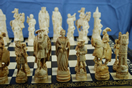 "French 19th Century Ivory Chess Set on the theme ""Field of the Cloth of Gold"""